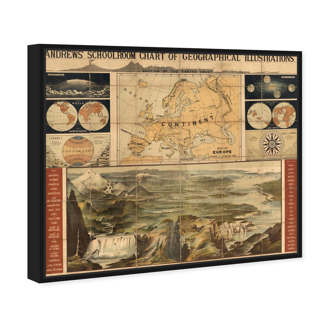 Angled view of Geographical Illustrations 1915 featuring maps and flags and world maps art.