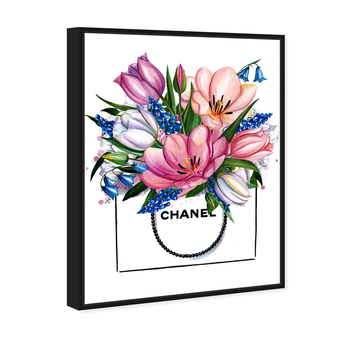 Angled view of Doll Memories - Tulip Shopping featuring floral and botanical and florals art.