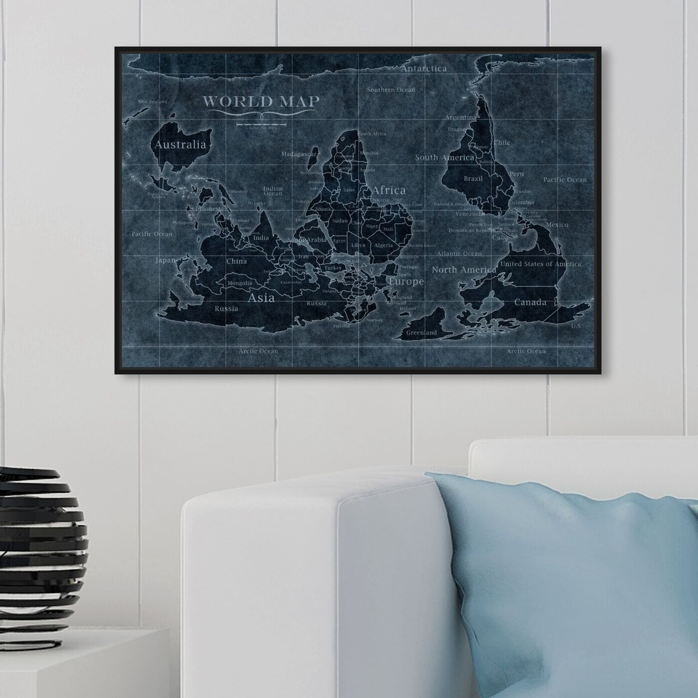 Hanging view of Upside-Down Map of the World Noir featuring maps and flags and world maps art.