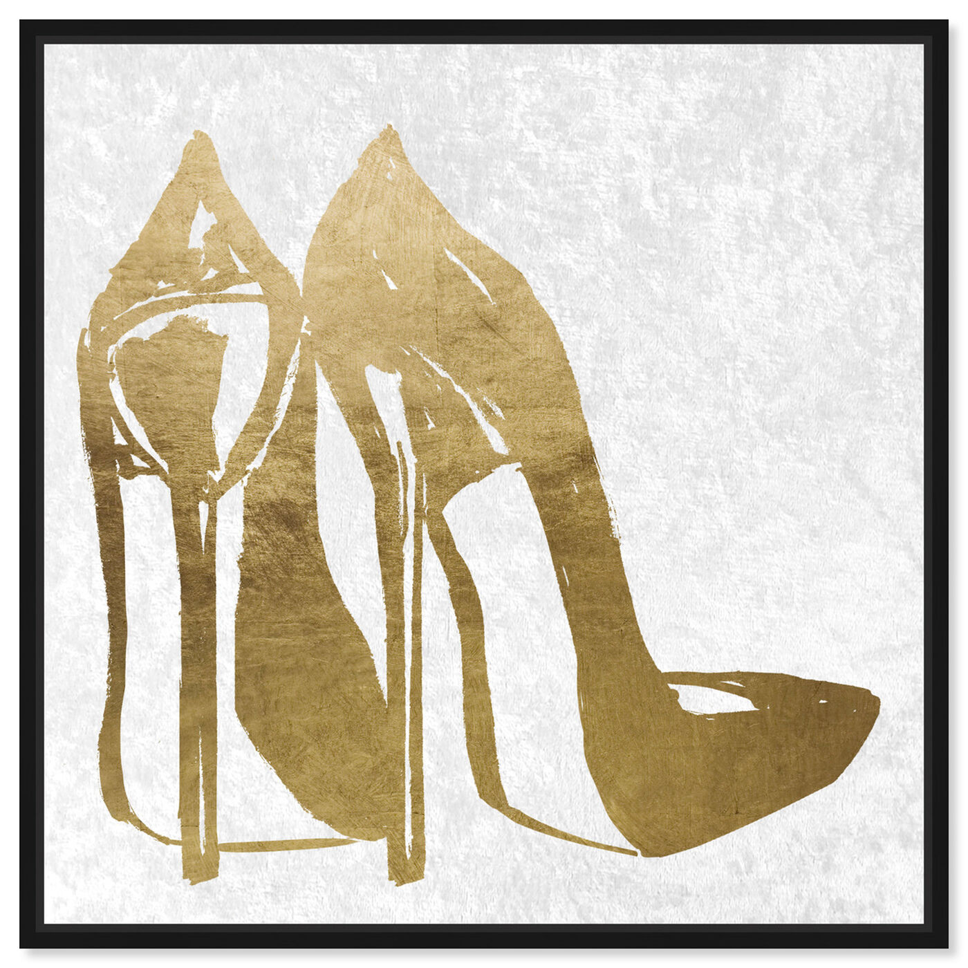 Front view of Gold and Velvet Heels featuring fashion and glam and shoes art.