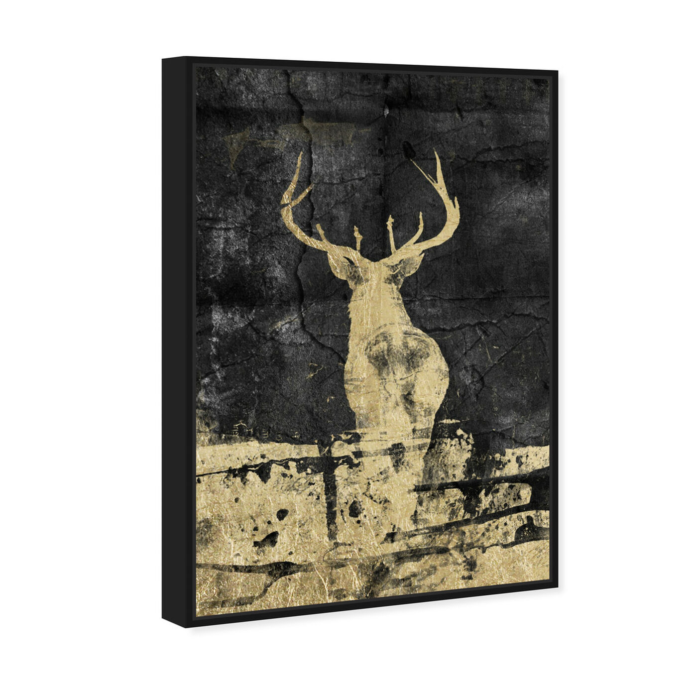 Angled view of Gold Stag I featuring animals and zoo and wild animals art.