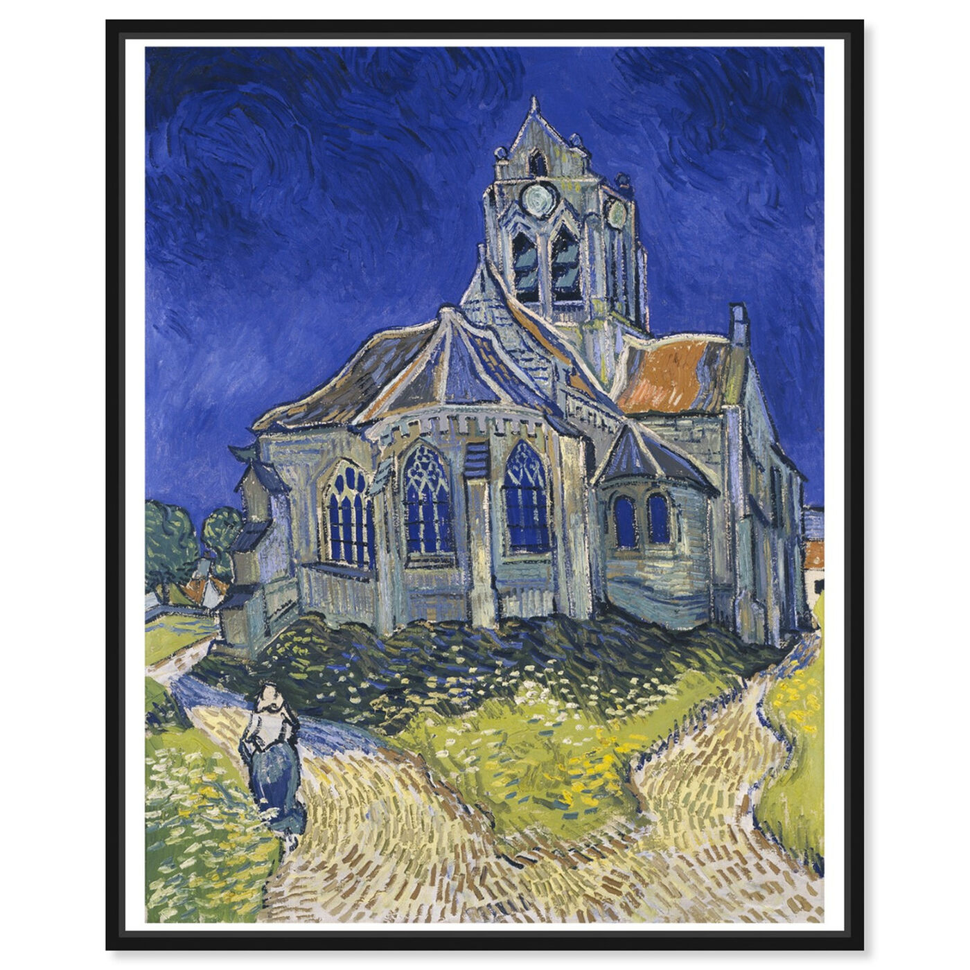 Front view of Van Gogh - The Church in Auvers Sur Oise featuring classic and figurative and impressionism art.