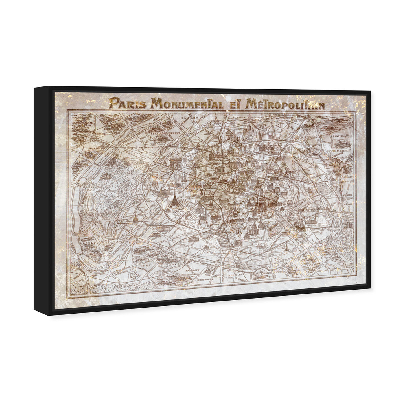 Angled view of Dusty Gold Paris Map featuring maps and flags and european cities flags art.