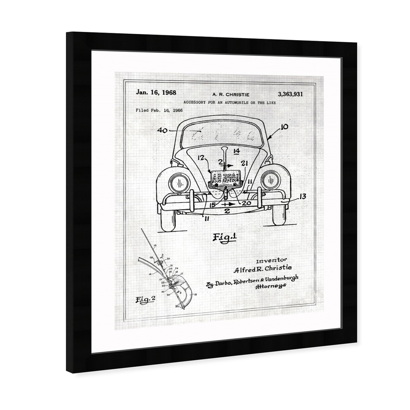 Angled view of Accessory For An Automobile 1968 featuring transportation and automobiles art.