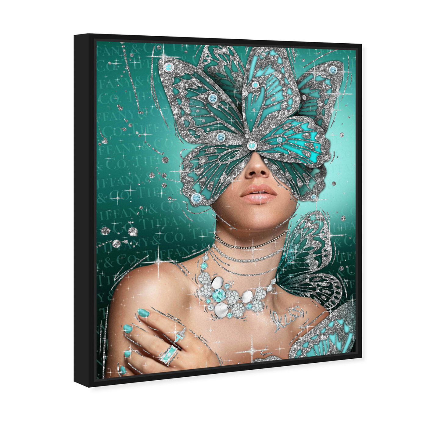 Angled view of Turquoise Wings featuring fashion and glam and wings art.