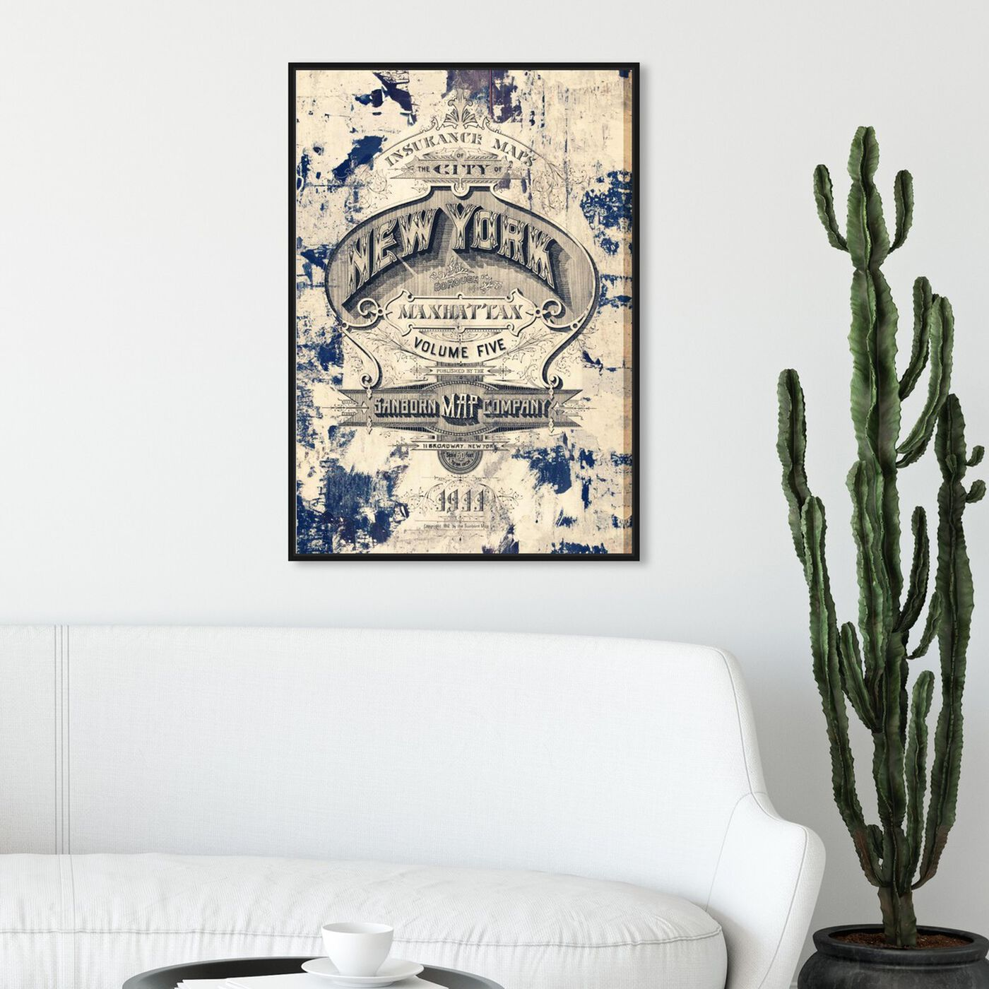 Hanging view of New York Insurance featuring advertising and posters art.