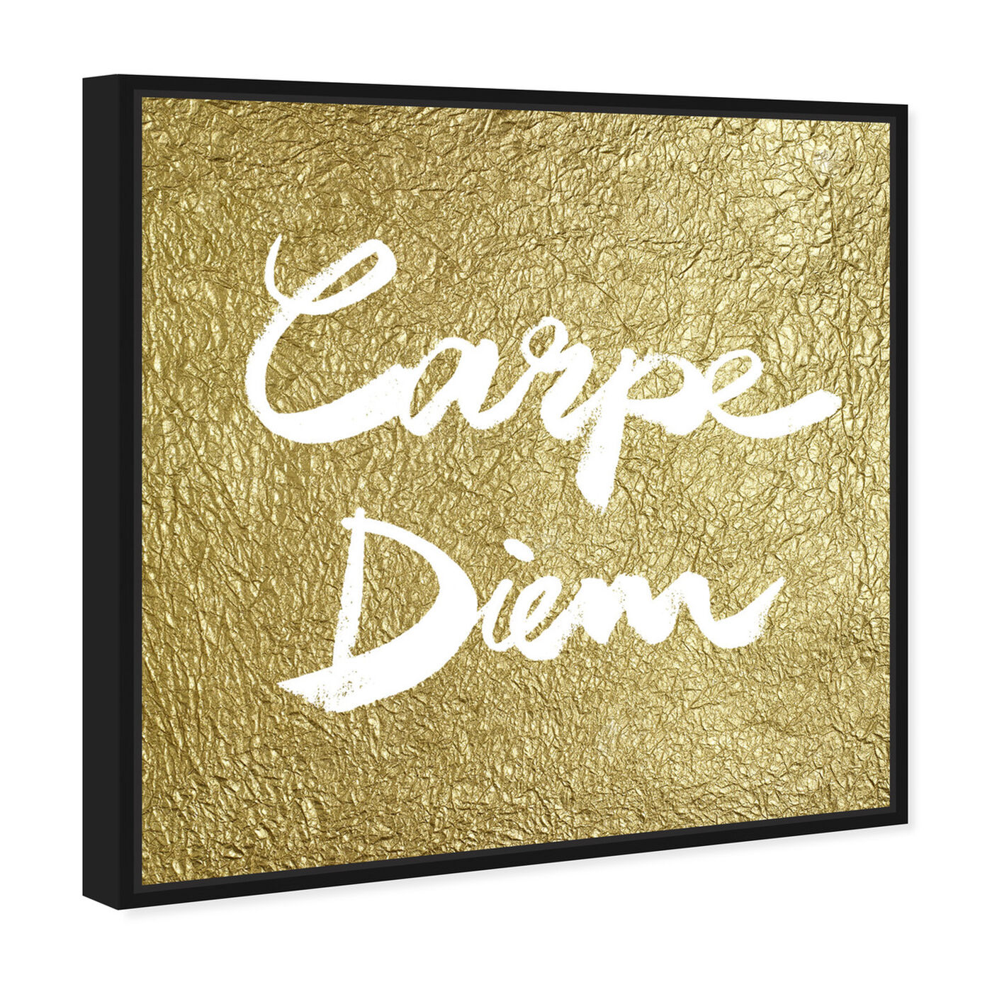Angled view of Carpe Diem Gold featuring typography and quotes and inspirational quotes and sayings art.