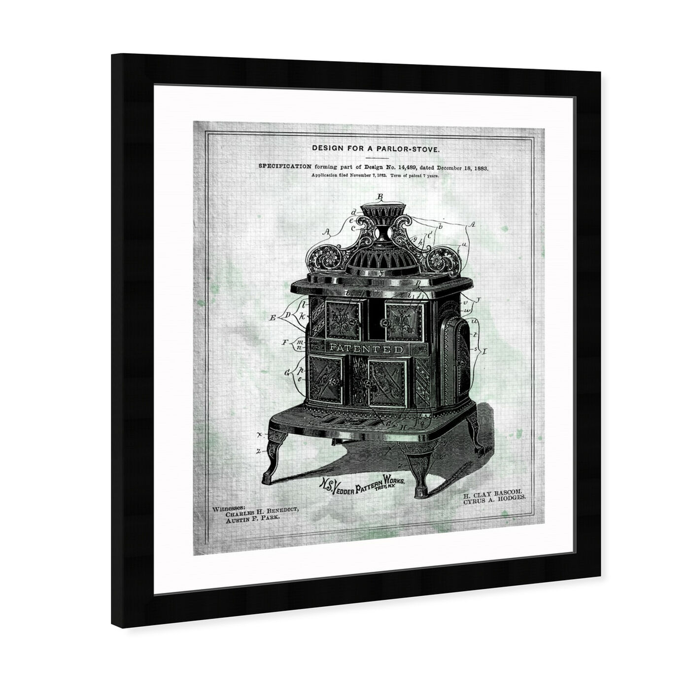 Angled view of Design for a Parlor-Stove 1883 featuring food and cuisine and kitchen art.