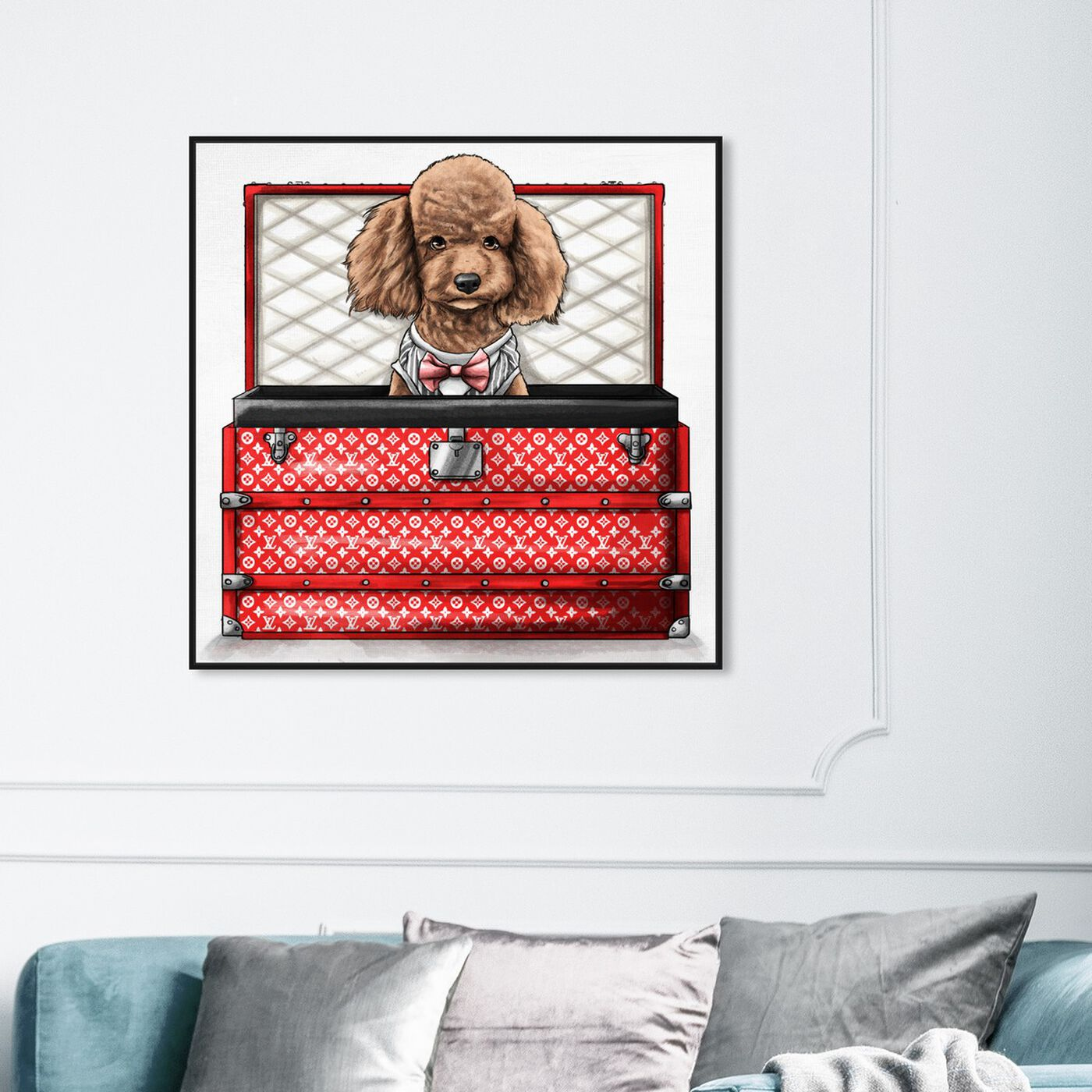 Hanging view of TRAVELLING POODLE featuring fashion and glam and travel essentials art.