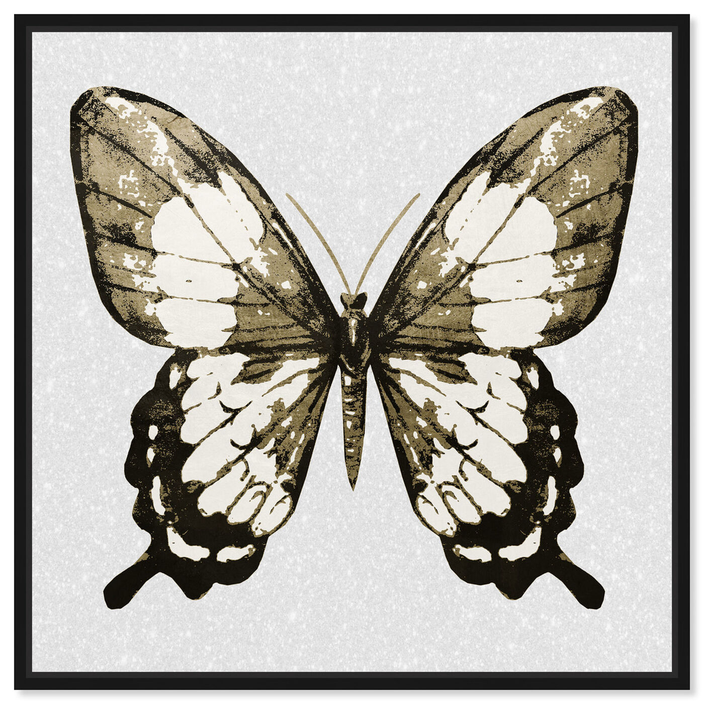 Front view of Butterfly Gold and Black featuring animals and insects art.