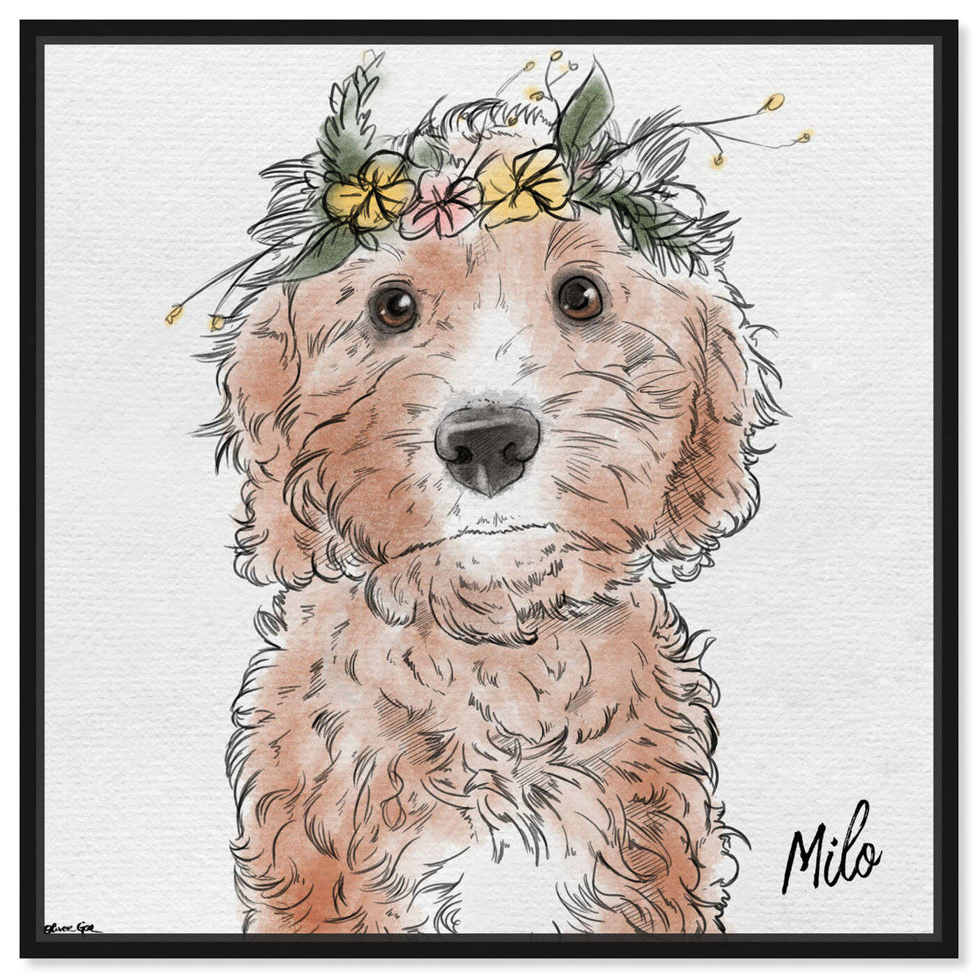 Front view of Flower Crown Pet featuring animals and dogs and puppies art.