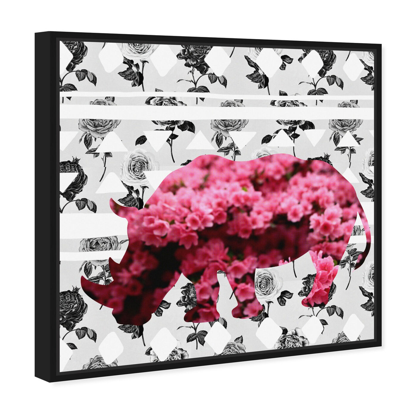 Angled view of Spring Rhino featuring animals and zoo and wild animals art.