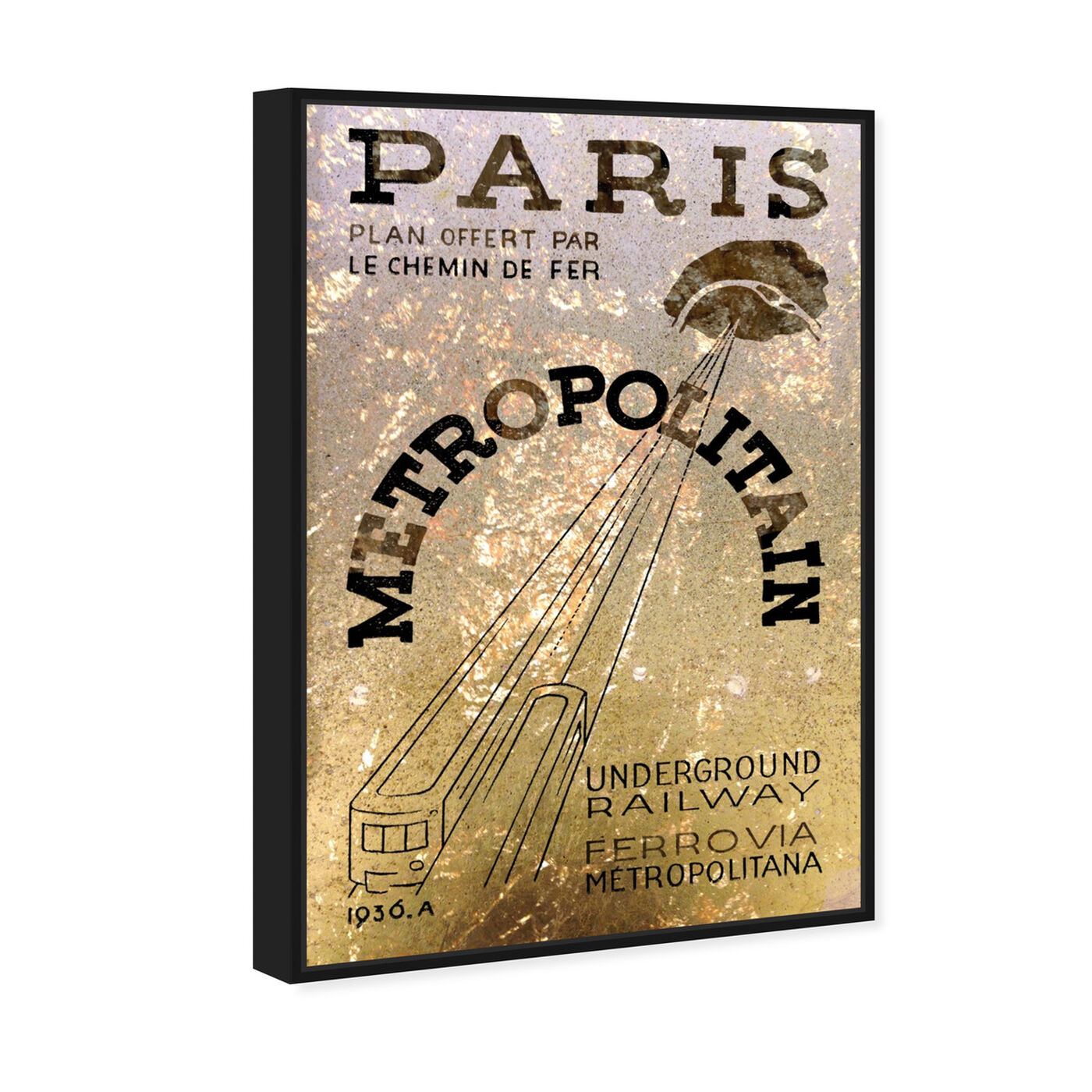 Angled view of Paris 1936 Railway featuring cities and skylines and european cities art.