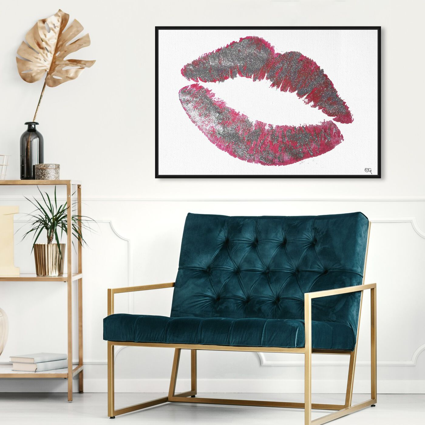 Hanging view of Glitter Kiss Silver featuring fashion and glam and lips art.