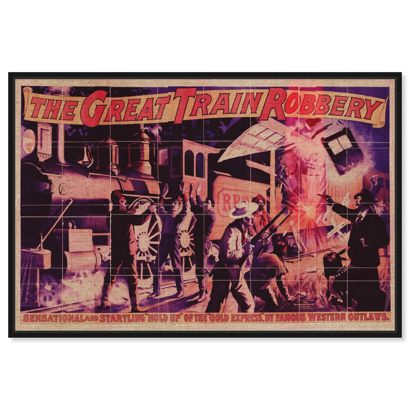 Front view of Great Train Robbery featuring advertising and posters art.