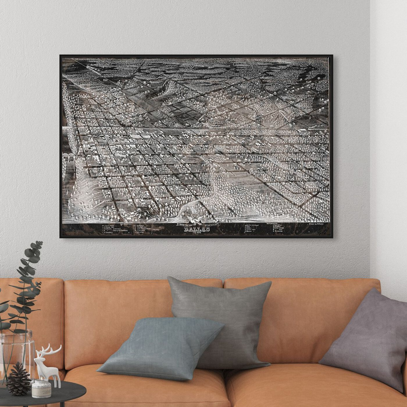 Hanging view of Map of Dallas in 1872 featuring maps and flags and us cities maps art.