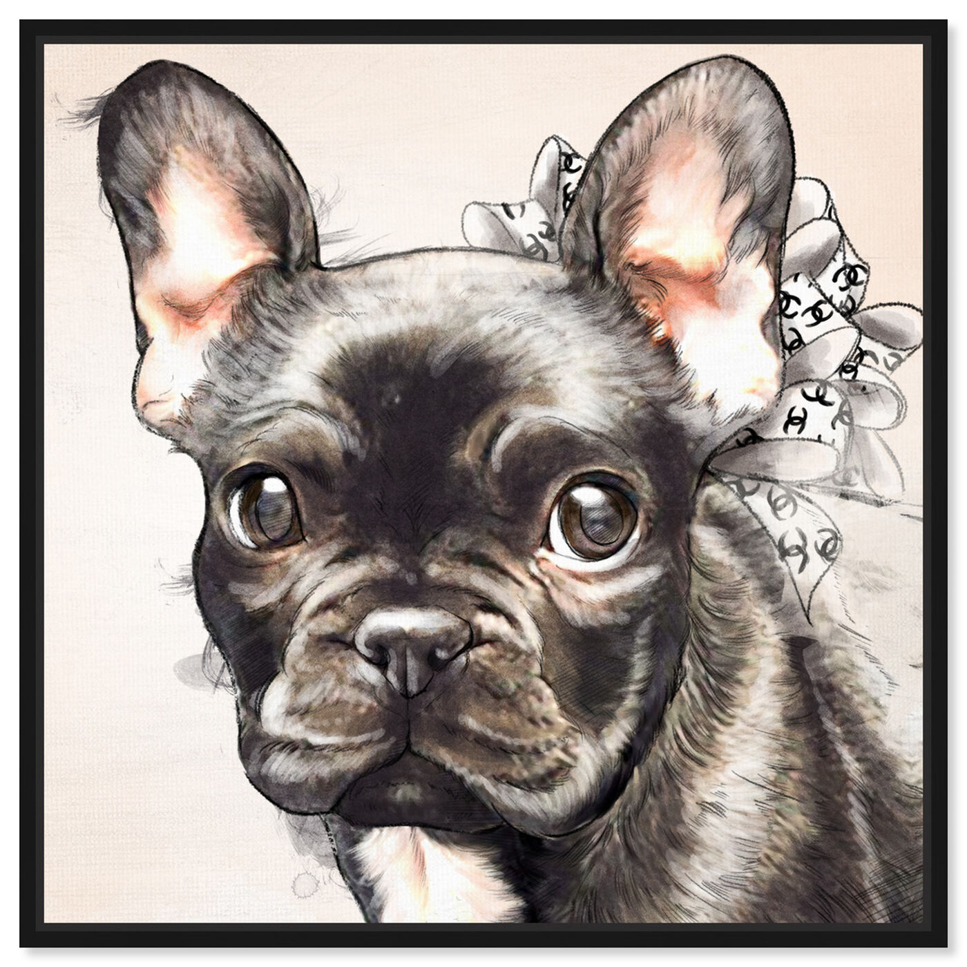 Front view of Frenchie Bow Watercolor Black featuring animals and dogs and puppies art.