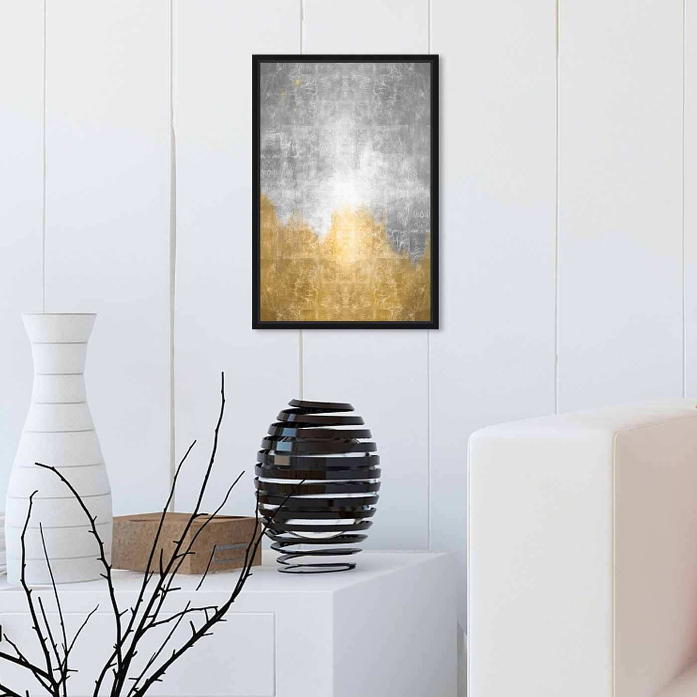 Hanging view of Starry Night Silver featuring abstract and paint art.
