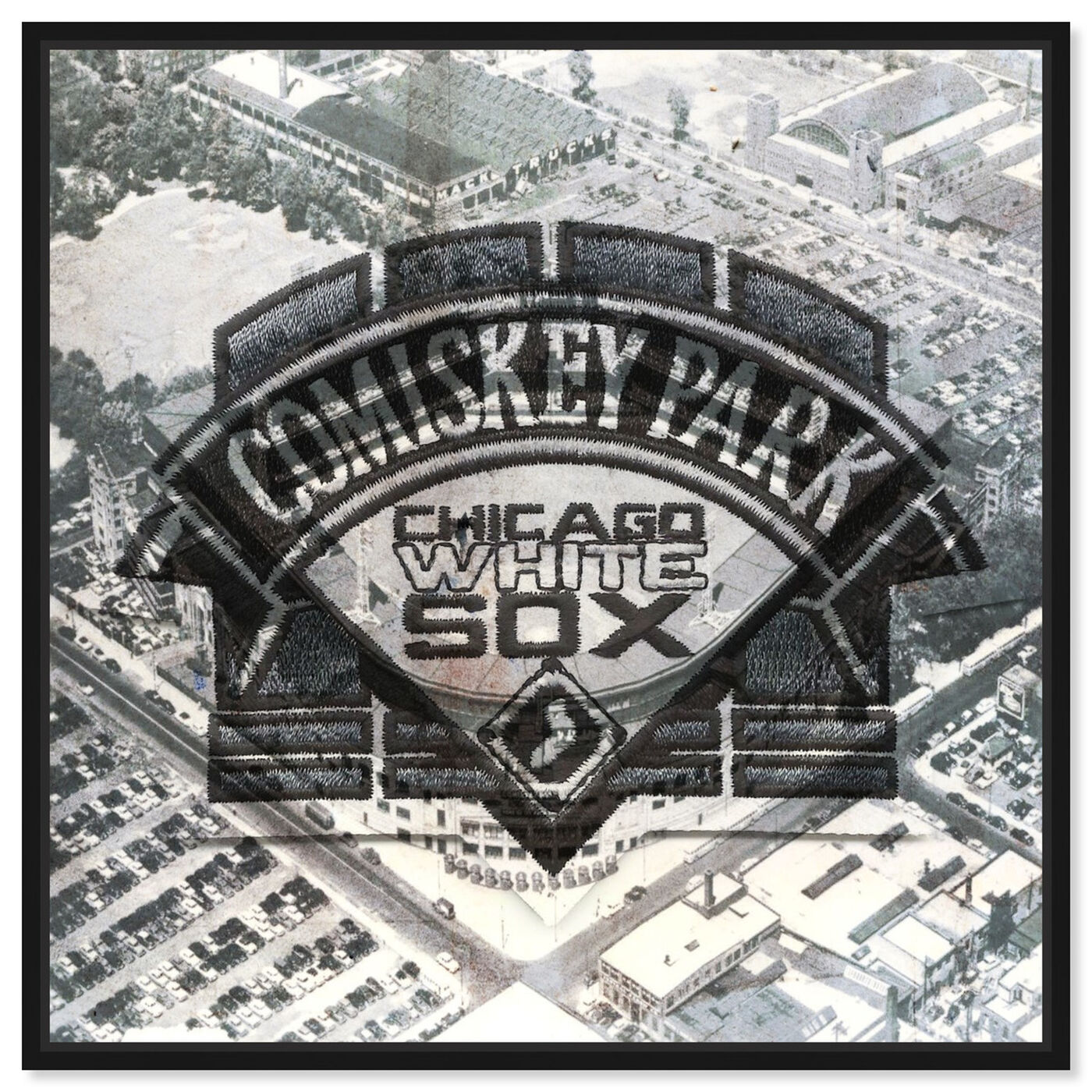 Front view of Comiskey Park White Sox featuring cities and skylines and united states cities art.
