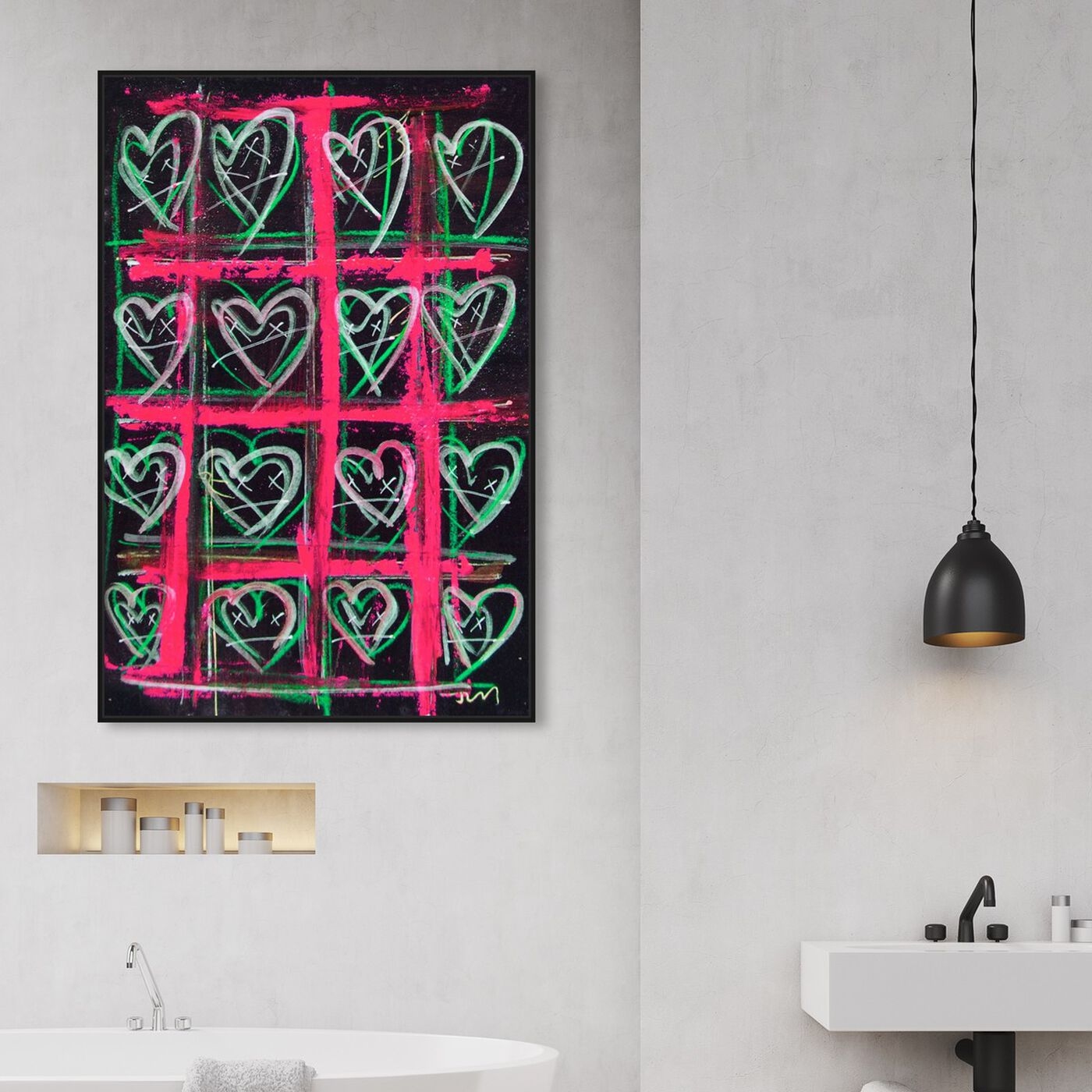 Hanging view of Vermelho by Tiago Magro featuring fashion and glam and hearts art.