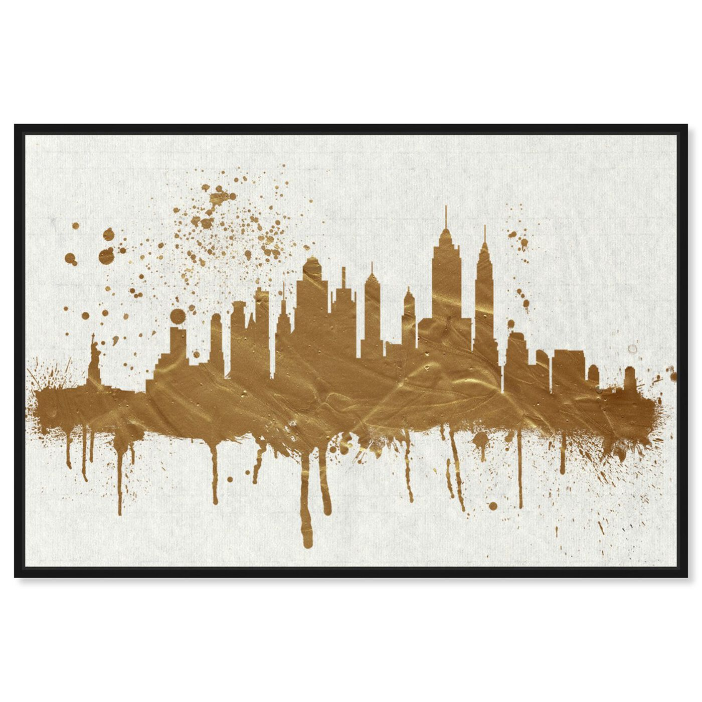 Front view of Gold NY Skyline featuring cities and skylines and united states cities art.