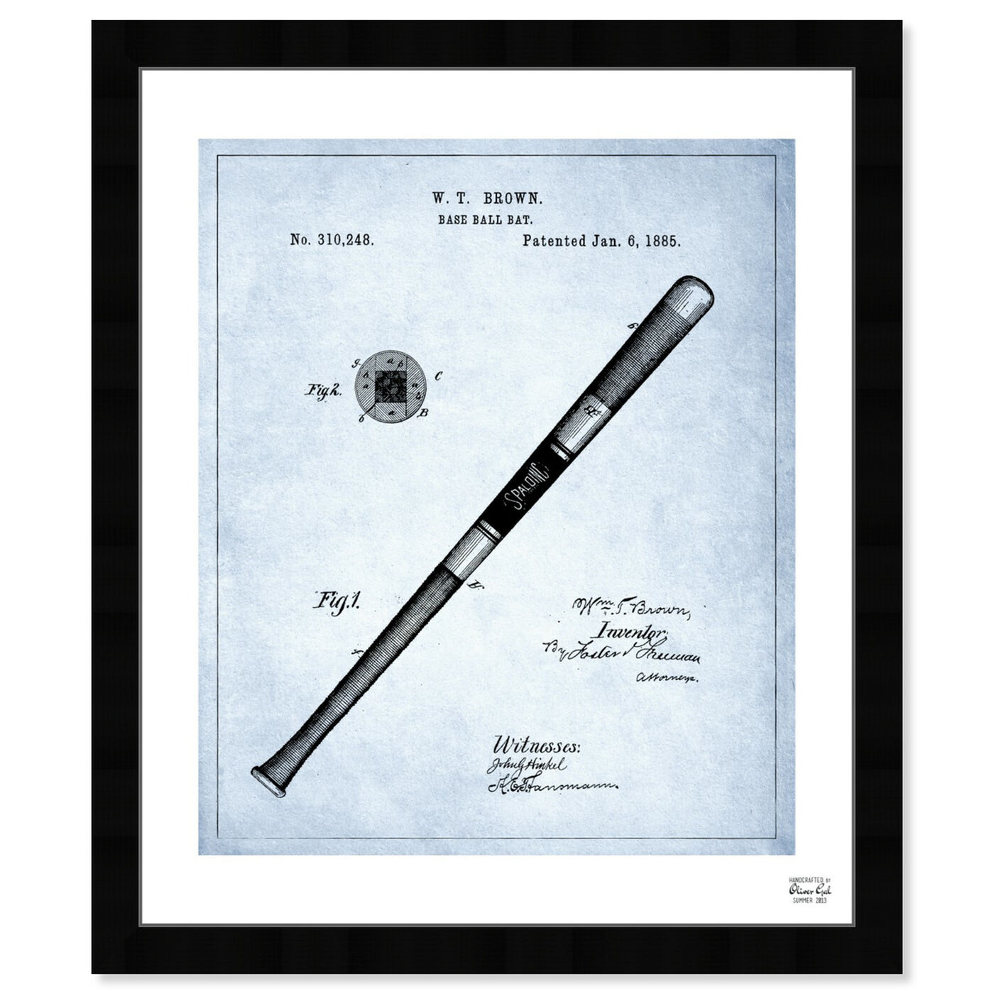 Front view of Baseball Bat 1885 - Light Blue featuring sports and teams and baseball art.