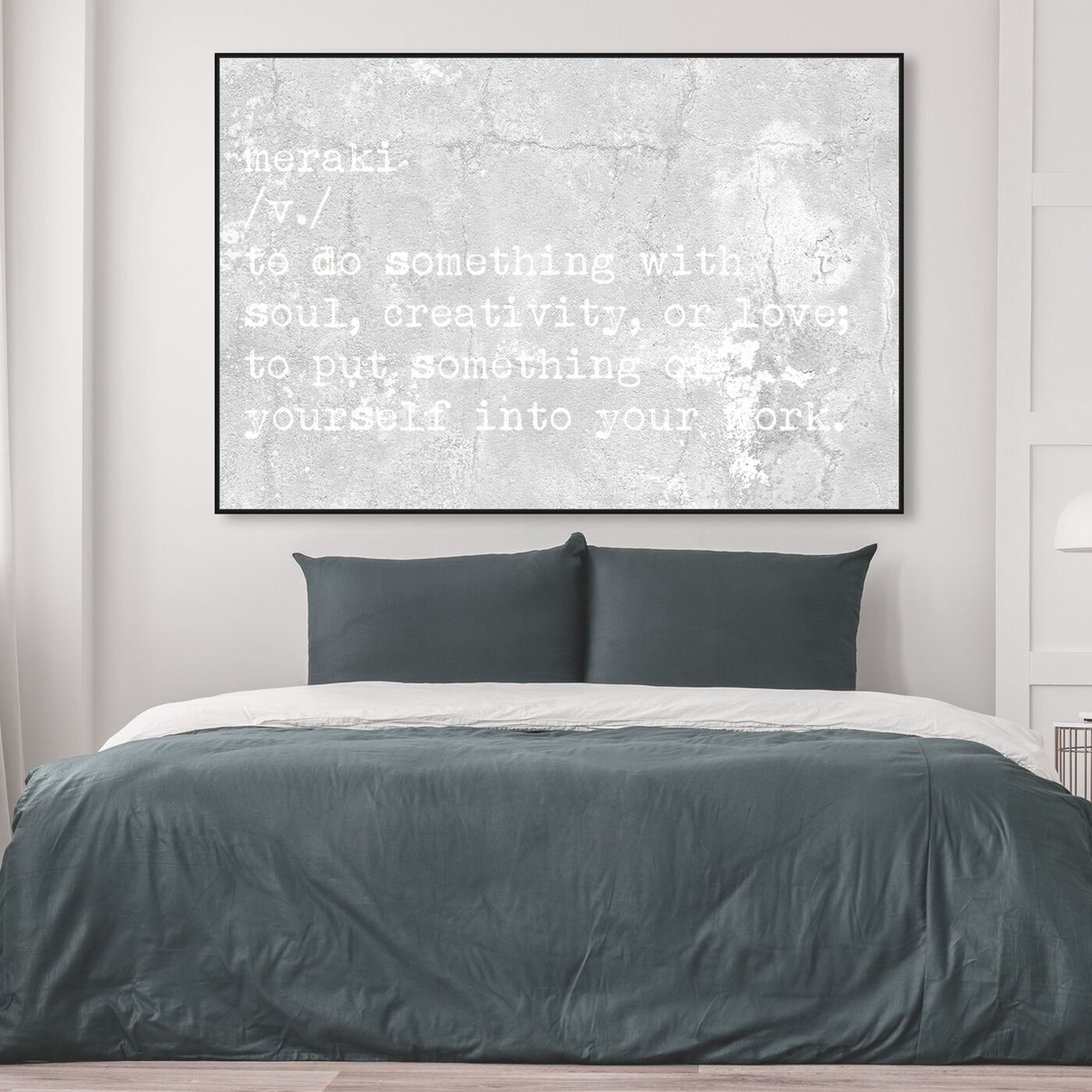 Hanging view of Meraki featuring typography and quotes and motivational quotes and sayings art.