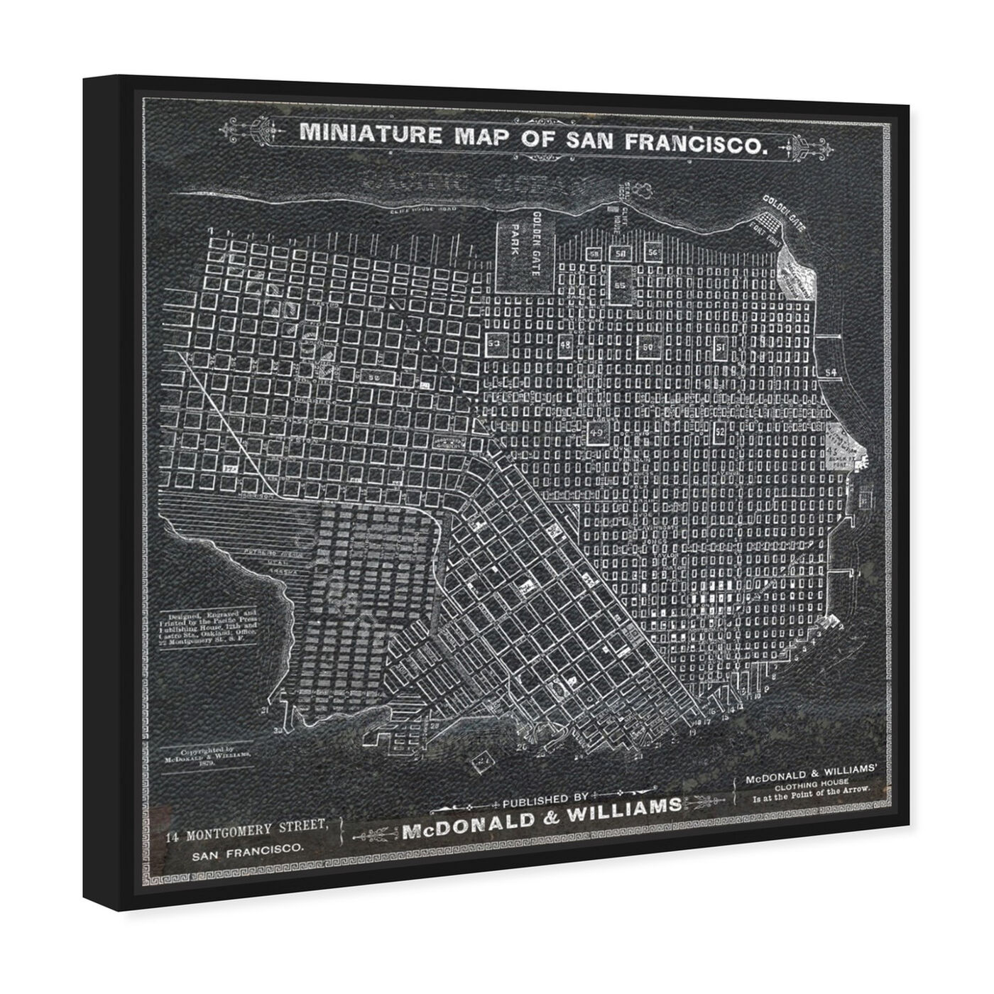 Angled view of San Francisco Map 1879 featuring maps and flags and us cities maps art.