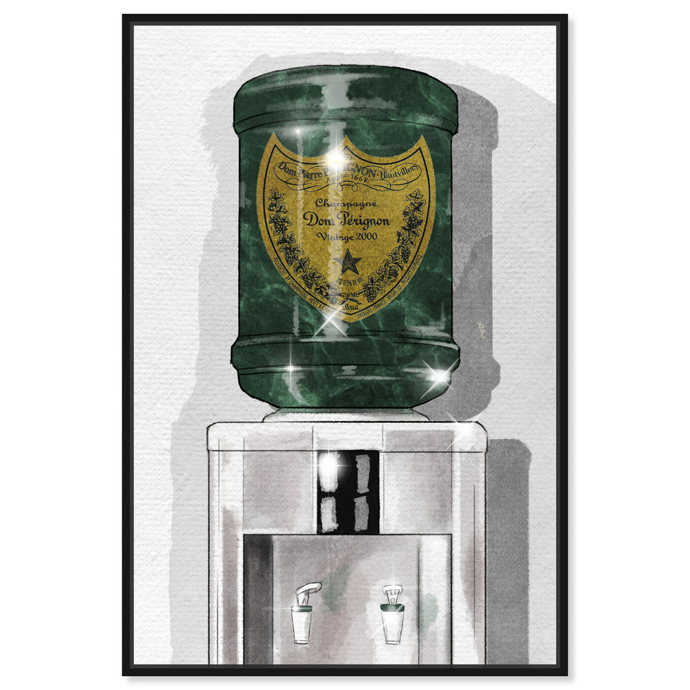 Front view of Dom Champagne Watercooler featuring fashion and glam and lifestyle art.