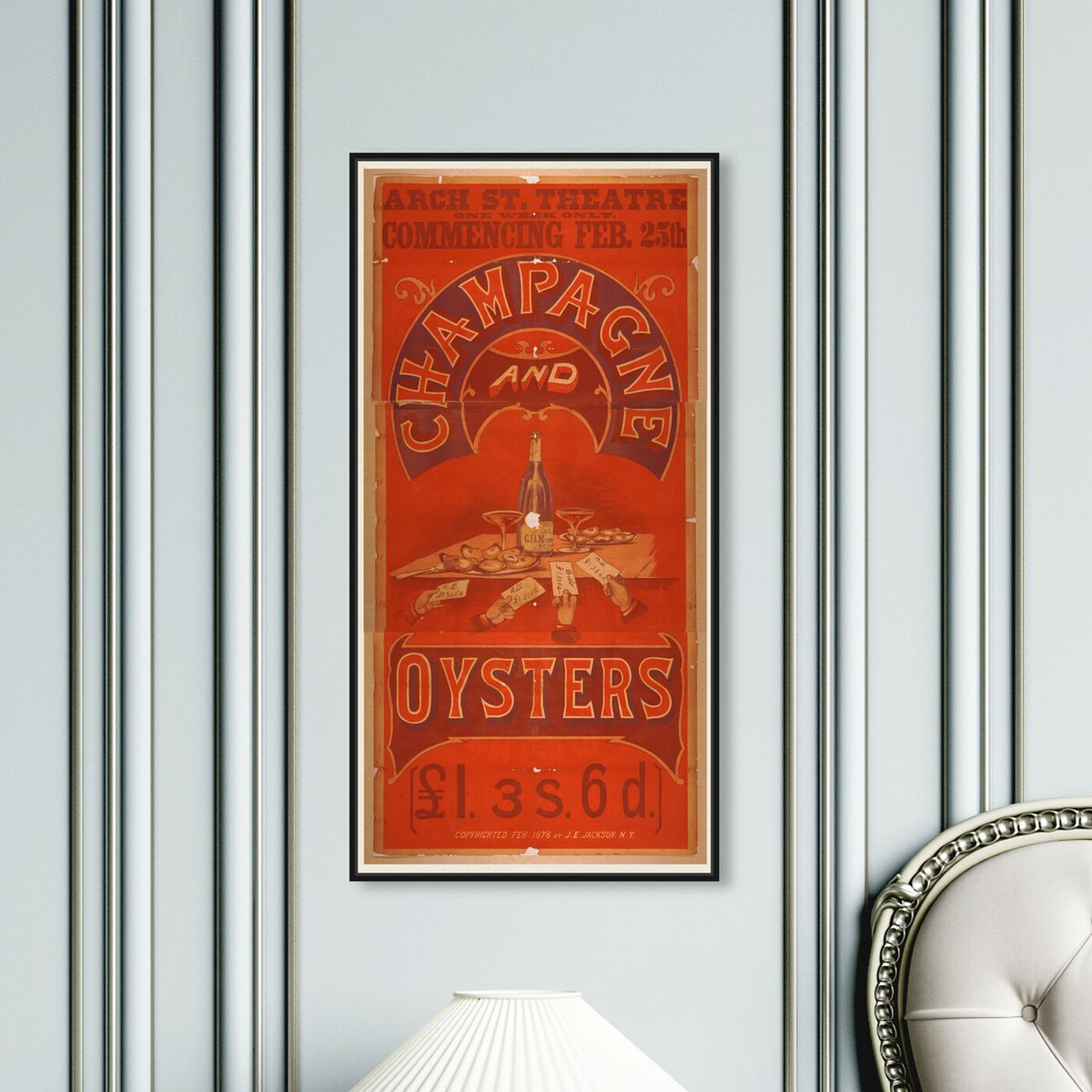 Hanging view of Champagne and Oysters featuring advertising and posters art.