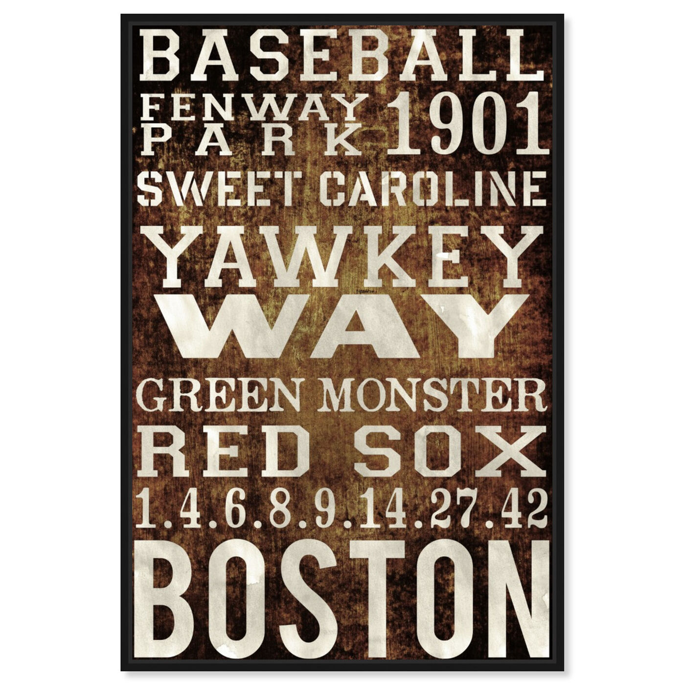 Front view of Boston Red Sox featuring advertising and publications art.