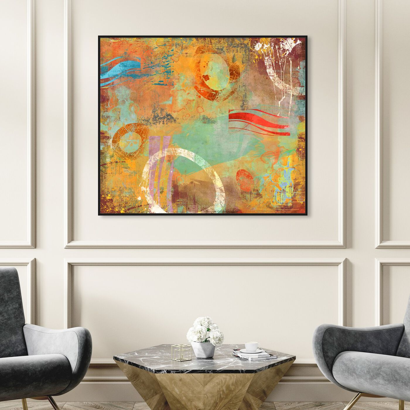Hanging view of SAI - Abstract Postcard featuring abstract and paint art.