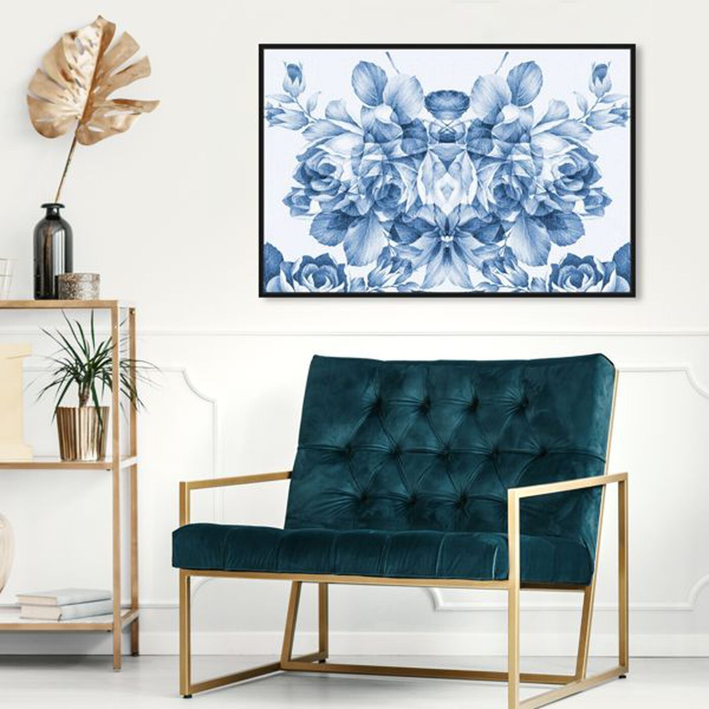 Hanging view of Floral Madness Blue featuring floral and botanical and florals art.