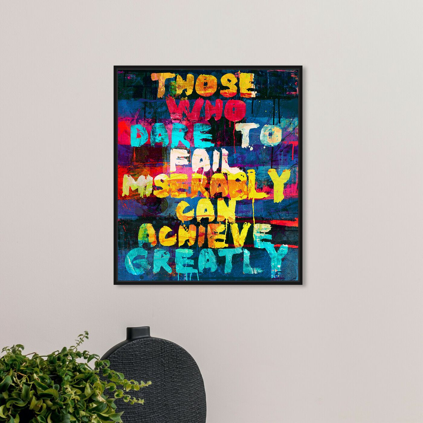 Hanging view of Achieve Greatly featuring typography and quotes and inspirational quotes and sayings art.