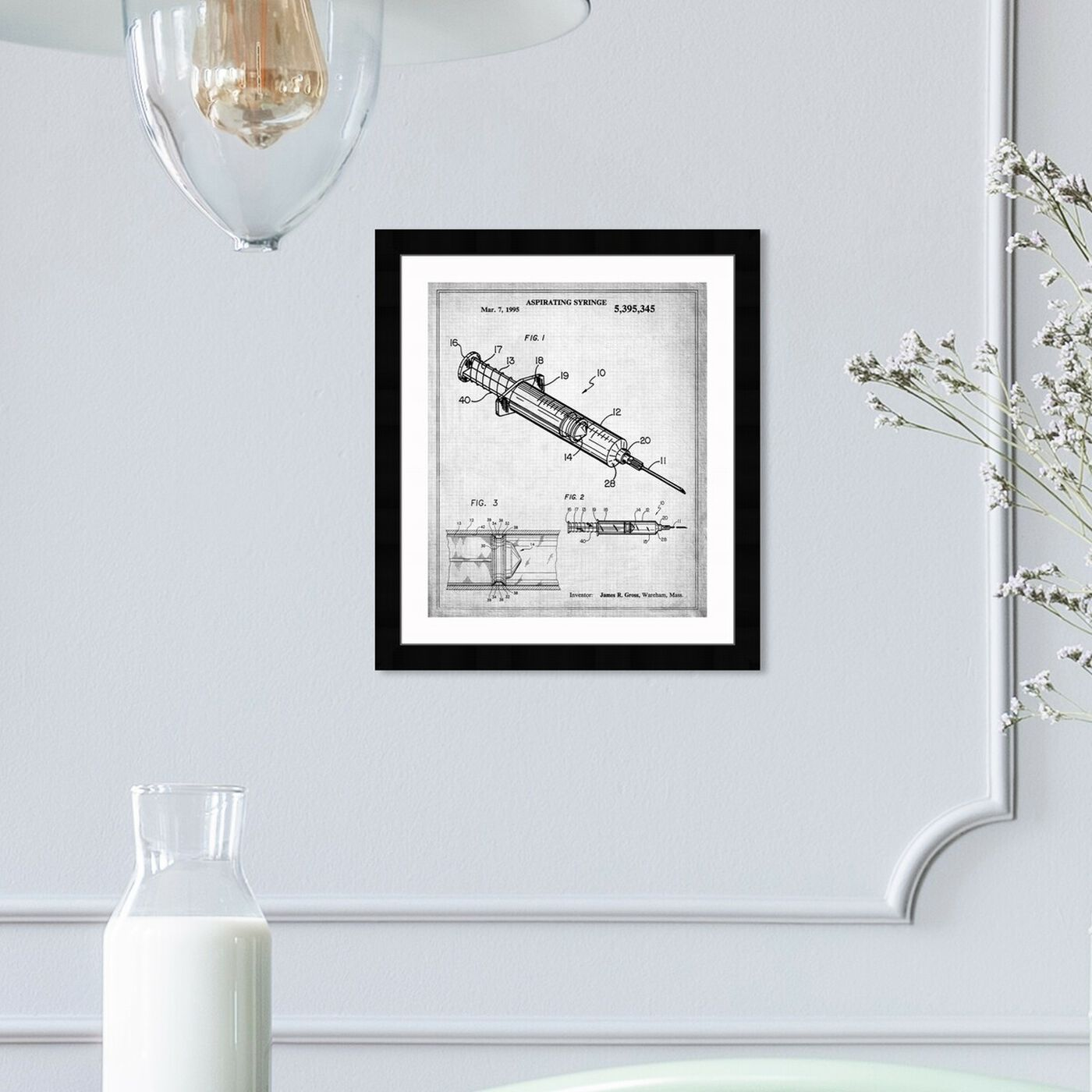 Hanging view of Aspirating Syringe 1995 featuring education and office and scientist art.
