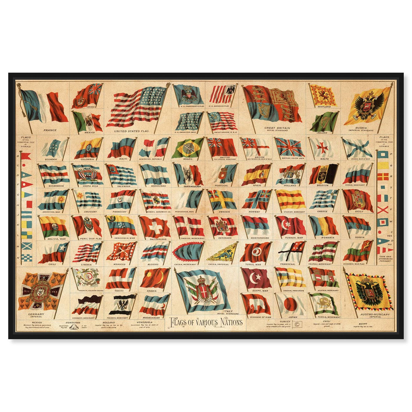 Front view of Flags of Various Nations 1892 featuring maps and flags and world flags art.