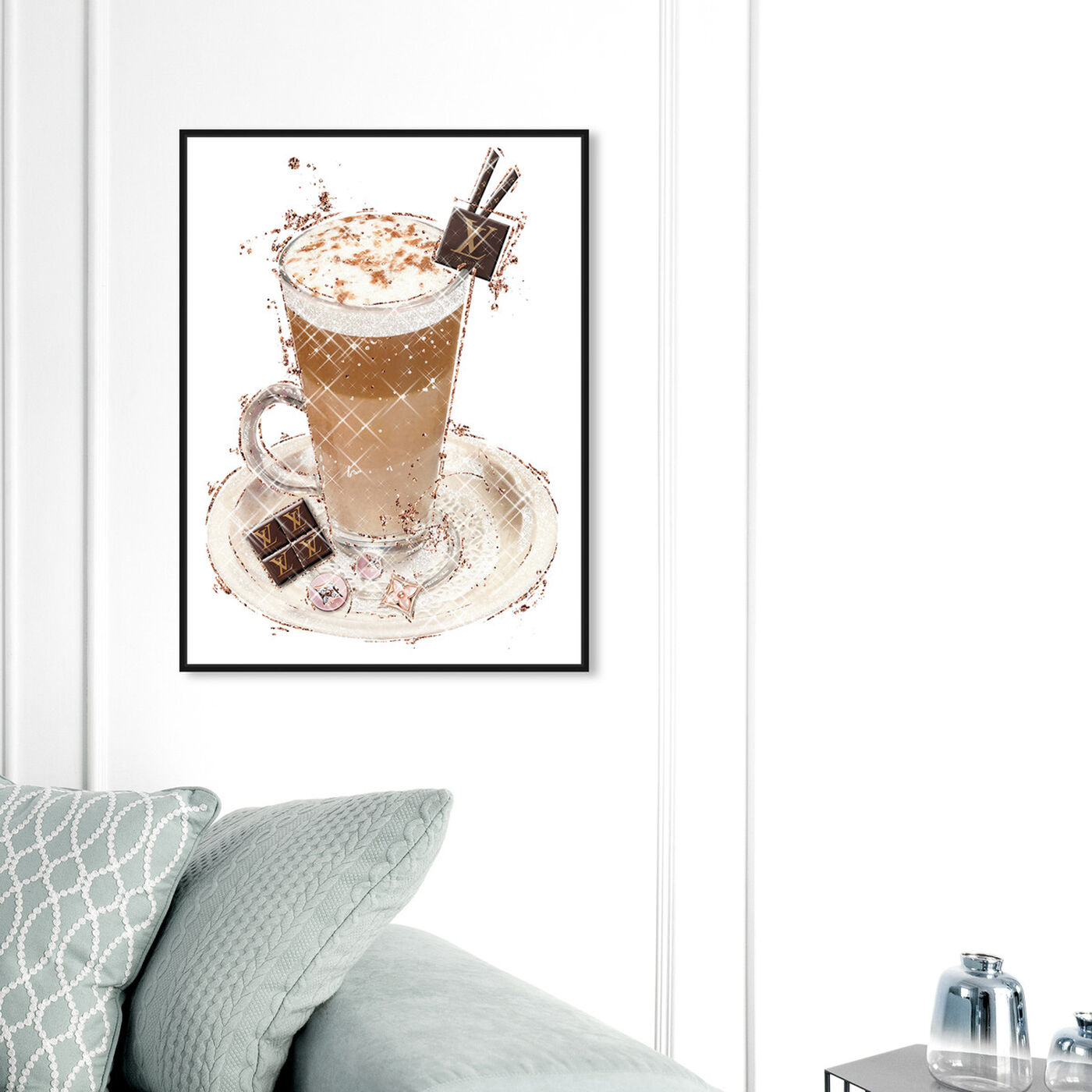 Hanging view of Vanilla Cocoa Frappe featuring drinks and spirits and coffee art.