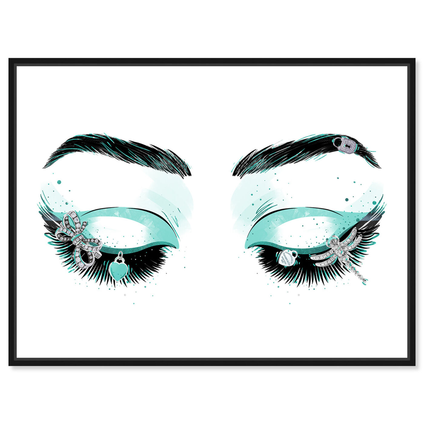 Front view of Aqua Glam Eyeshadows featuring fashion and glam and makeup art.