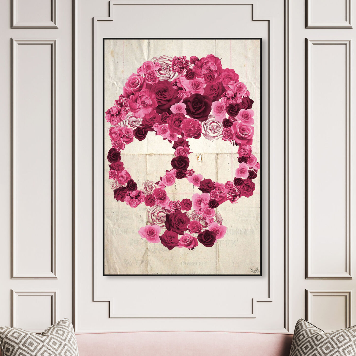 Hanging view of Strawberry Skull featuring symbols and objects and skull art.