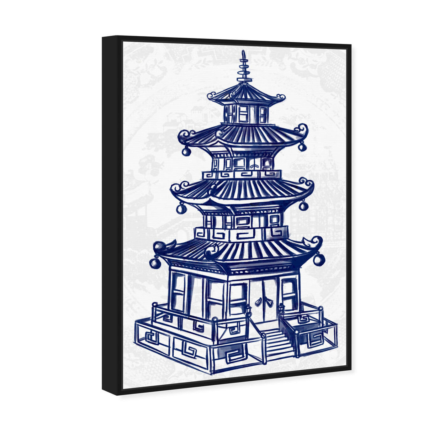Angled view of Julianne Taylor Style - Pagoda Navy featuring world and countries and asian cultures art.
