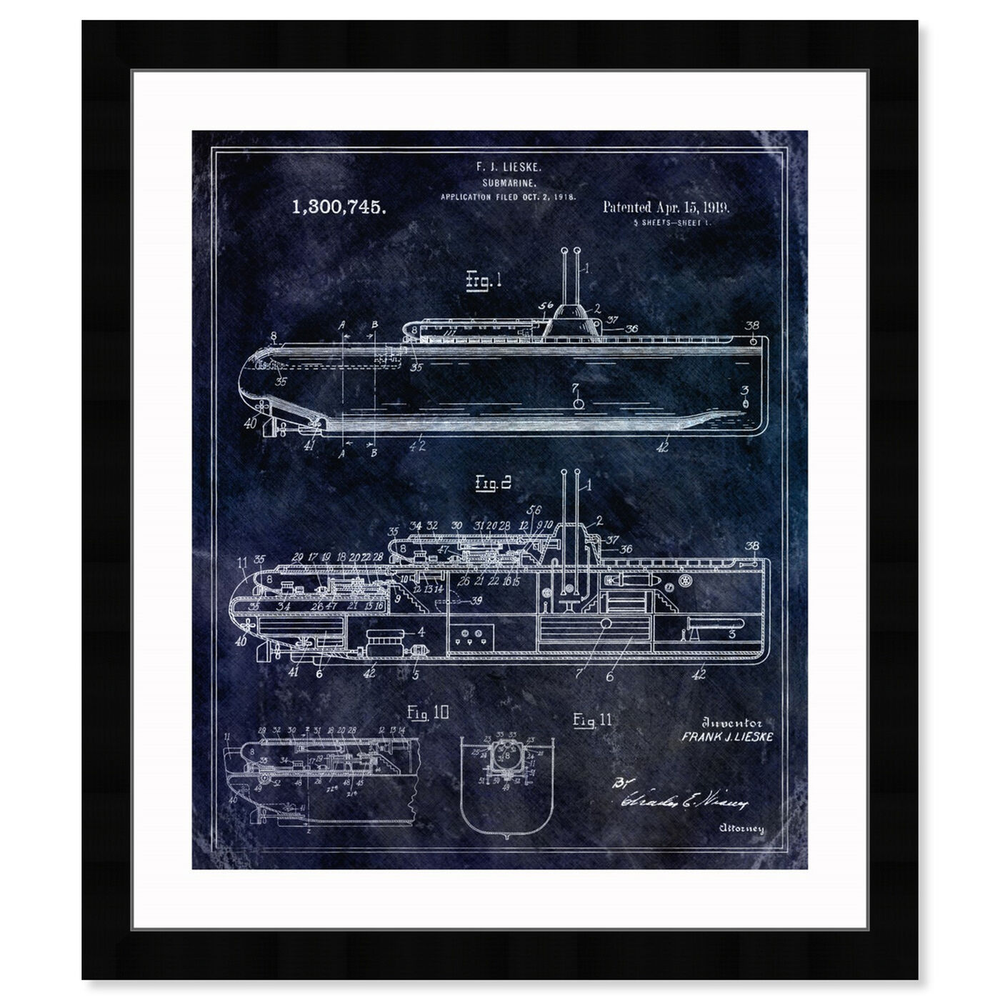 Front view of Submarine 1919 featuring transportation and submarines art.