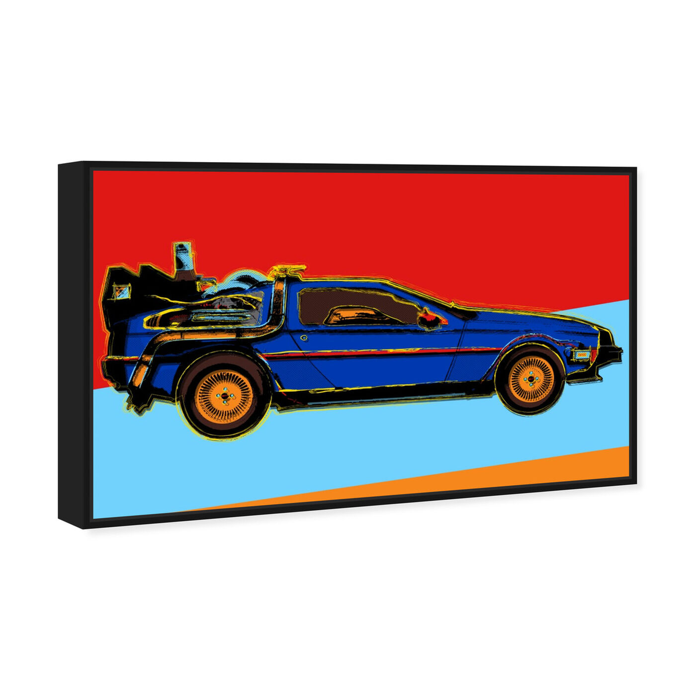 Angled view of Warhol style Delorean featuring transportation and automobiles art.