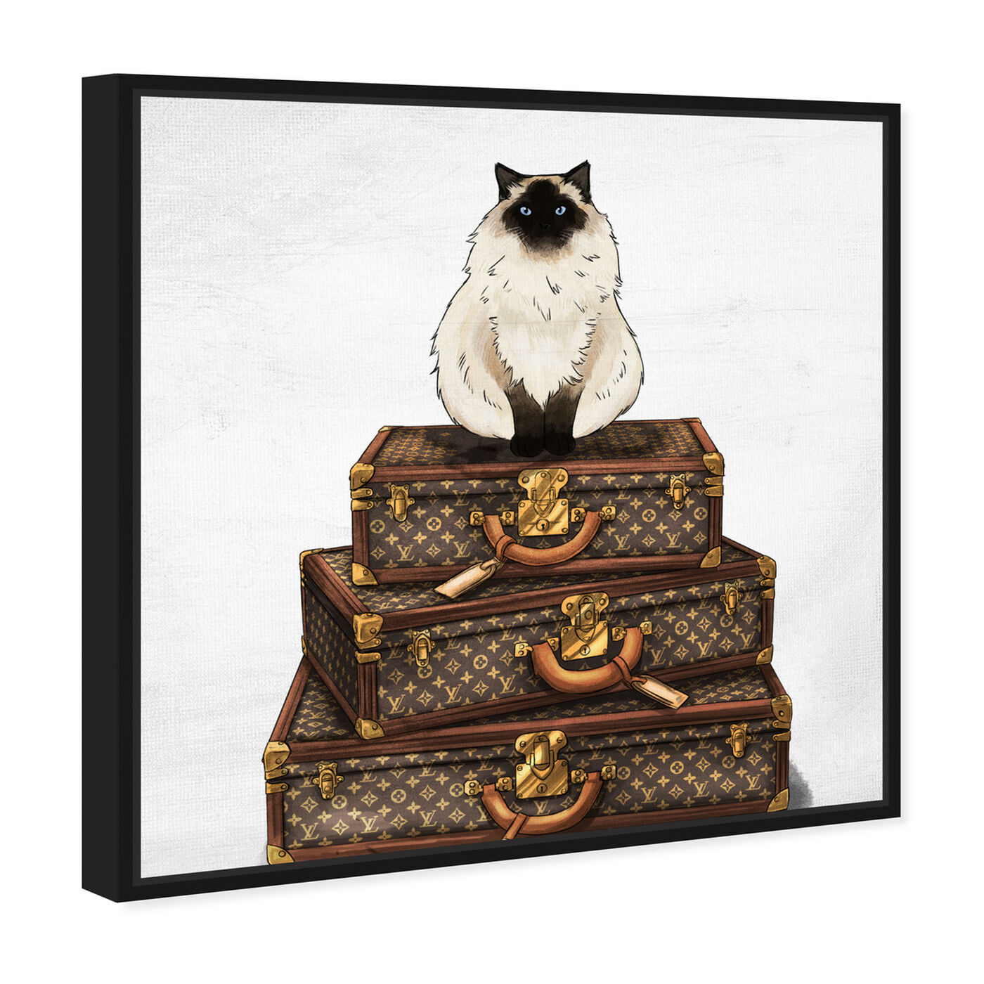 Angled view of Siamese Suitcase featuring fashion and glam and travel essentials art.