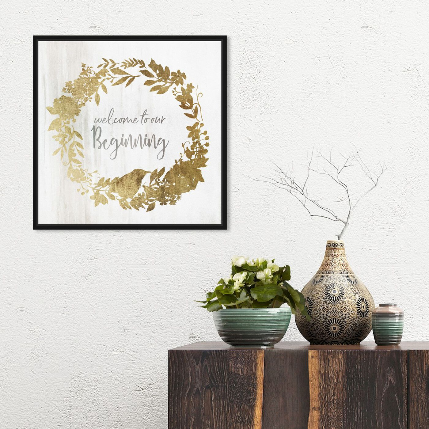 Hanging view of Welcome to our Beginning featuring typography and quotes and love quotes and sayings art.