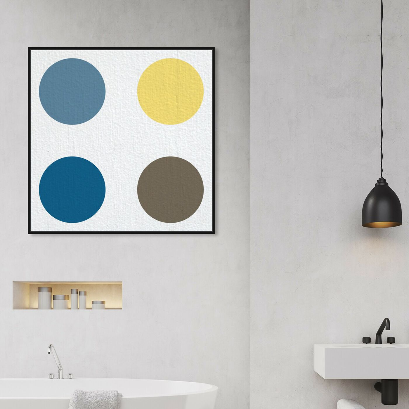 Hanging view of Punto Uno featuring abstract and geometric art.