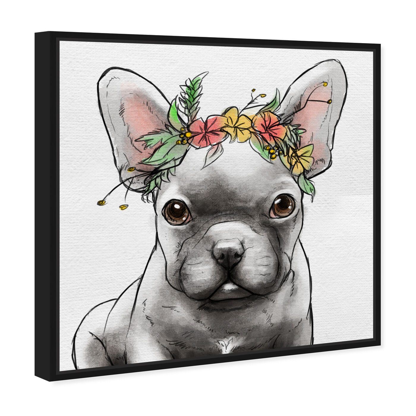 Angled view of Floral Crown Frenchie II featuring animals and dogs and puppies art.