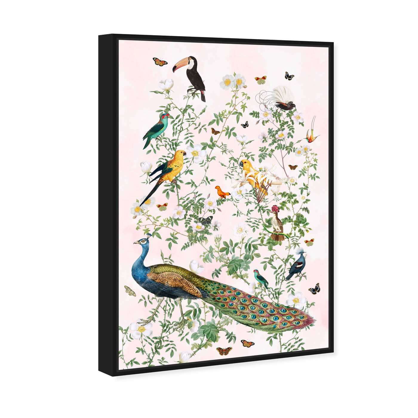 Angled view of Maracas Chinoiserie featuring floral and botanical and florals art.