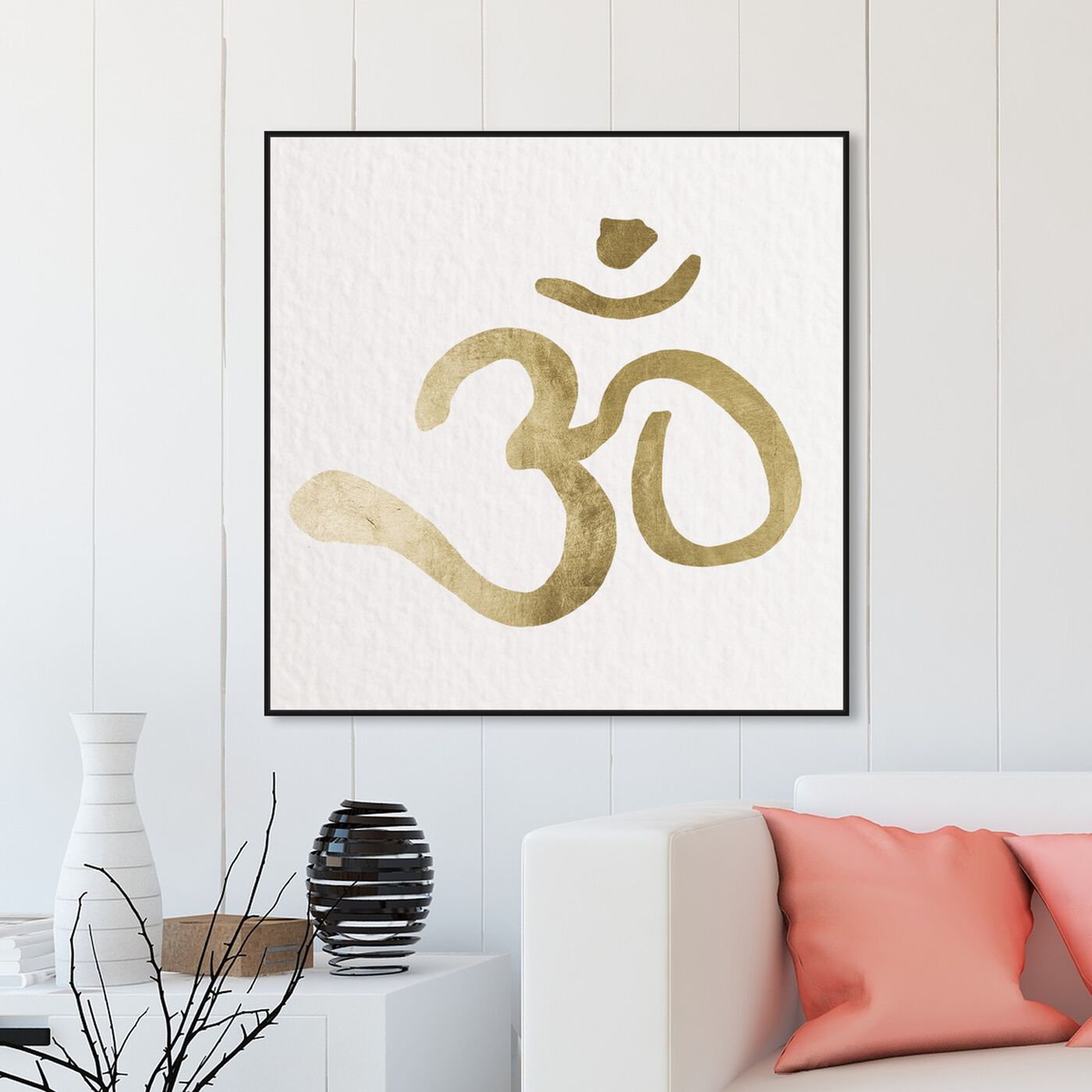 Hanging view of Ohm Gold Paper featuring symbols and objects and mystic symbols art.