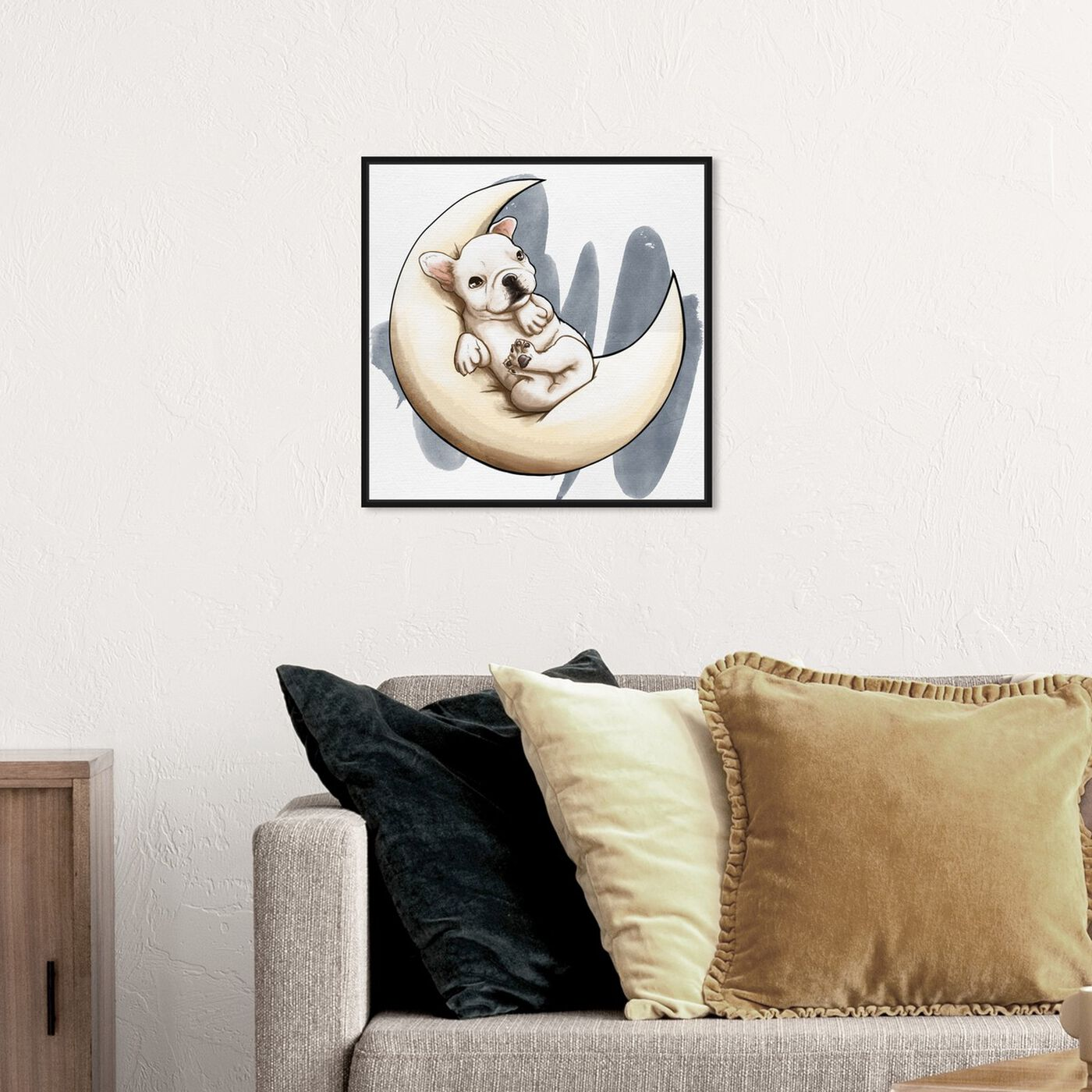 Hanging view of Lunar Frenchie featuring animals and dogs and puppies art.