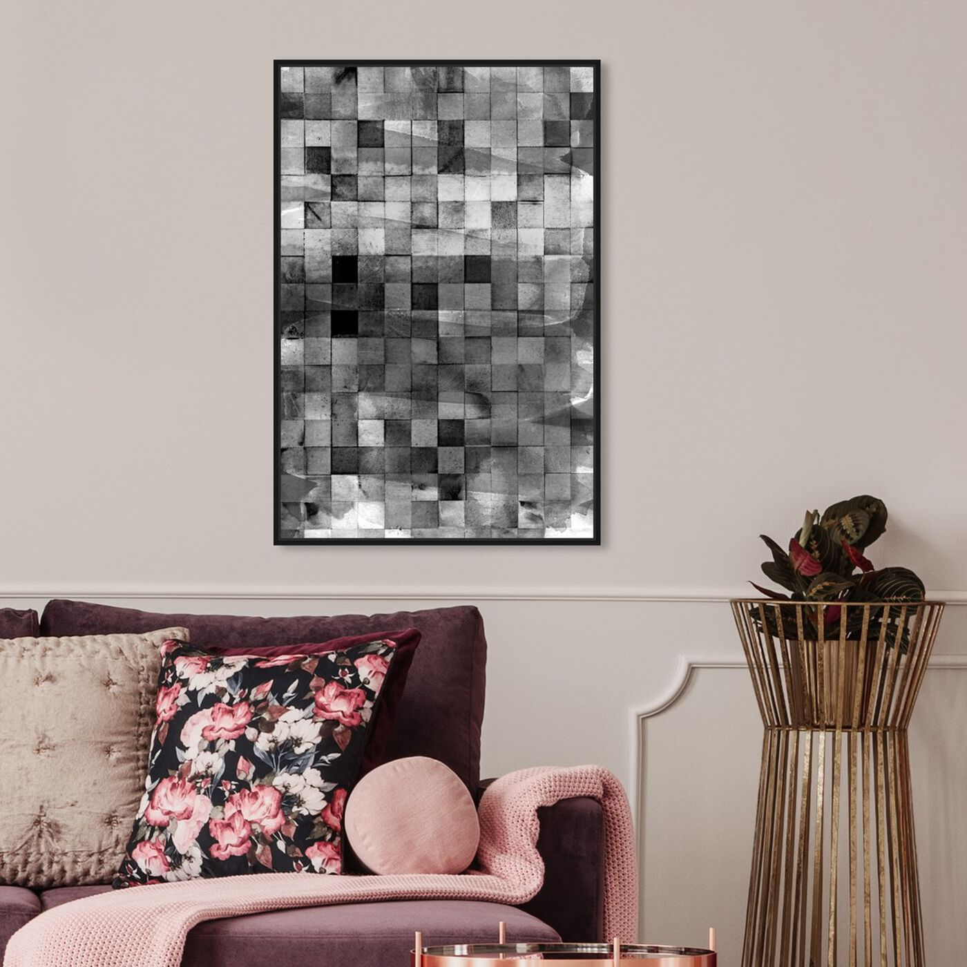 Hanging view of Mosaic Smoke featuring abstract and geometric art.